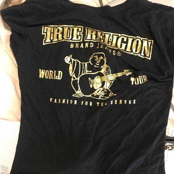 41aec645 True Religion Tops | Womens Black Gold Metallic Shirt | Poshmark
